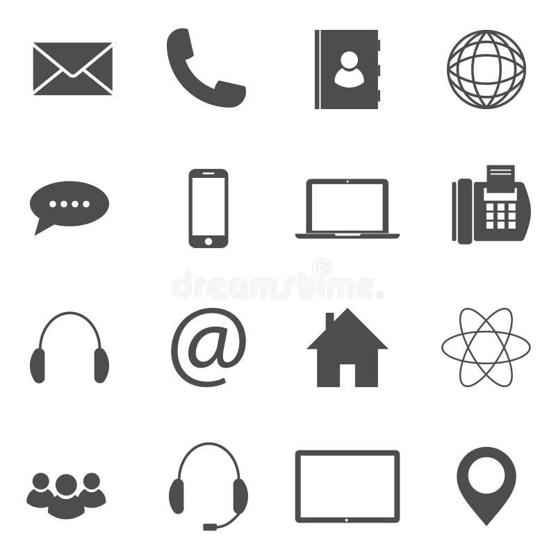 Kontaktowe ikony ilustracja wektor