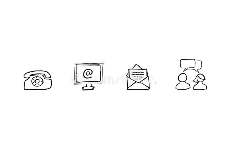Kontaktowe ikony z białym tłem ilustracja wektor