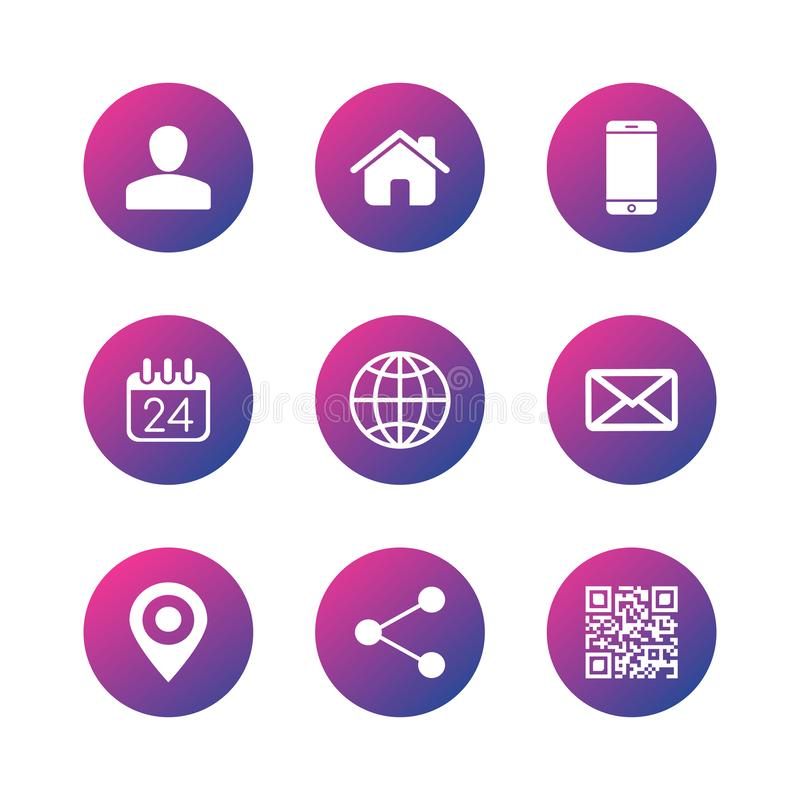Kontaktowe komunikacyjne ikony dla wizytówki, sieć, apps Wektorowa ilustracja odizolowywaj?ca na bia?y tle ilustracja wektor