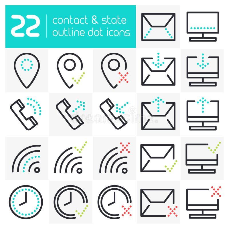 Kontaktowe Kreskowe ikony ilustracja wektor