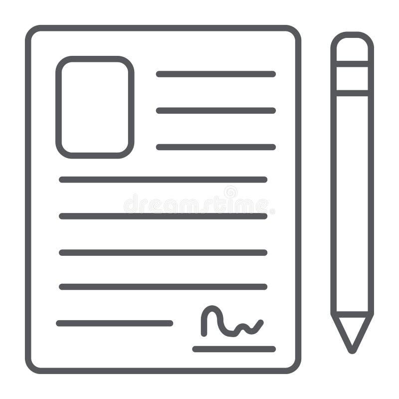 Kontaktowej formy cienka kreskowa ikona, puste miejsce i rejestr, dokumentu znak, wektorowe grafika, liniowy wzór na białym tle ilustracji