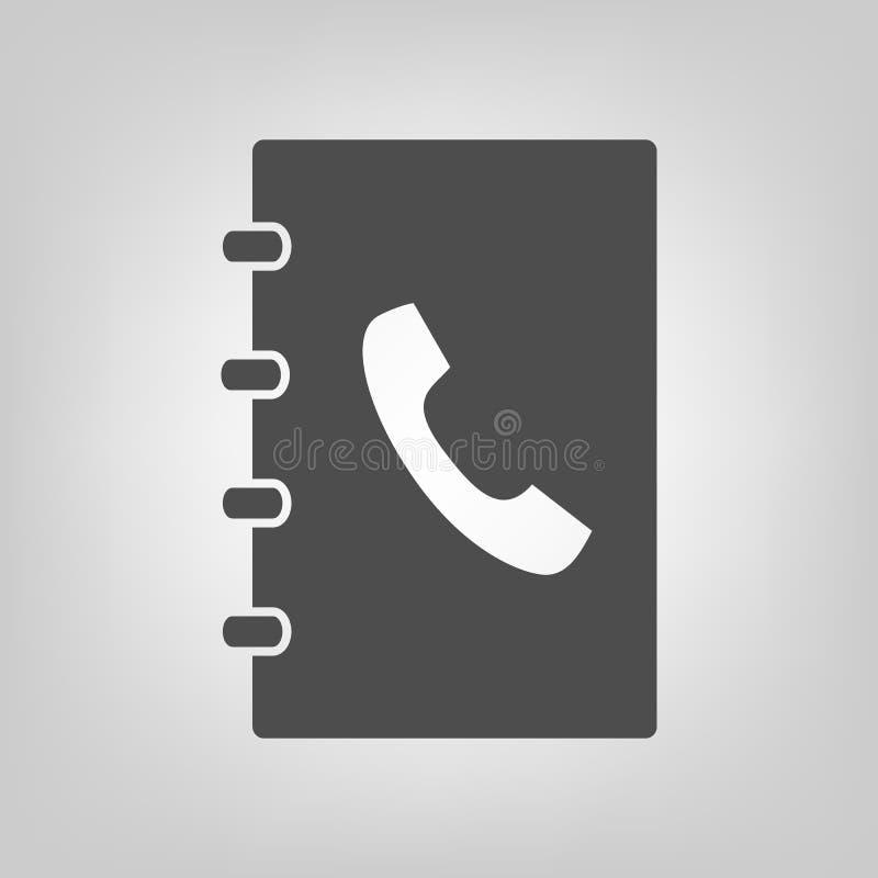 Kontaktowej ikony notesu na adresy znaka wektorowy symbol dla graficznego projekta, logo, strona internetowa, ogólnospołeczni śro ilustracji