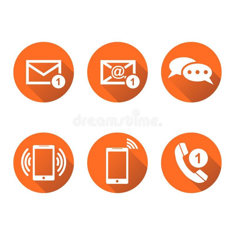 Kontaktowi guziki ustawiają ikony Email, koperta, telefon, wisząca ozdoba Vecto ilustracji
