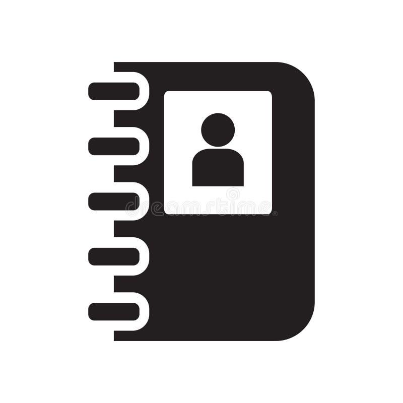 Kontaktowy notatnik ikony wektoru znak i symbol odizolowywający na białym b royalty ilustracja