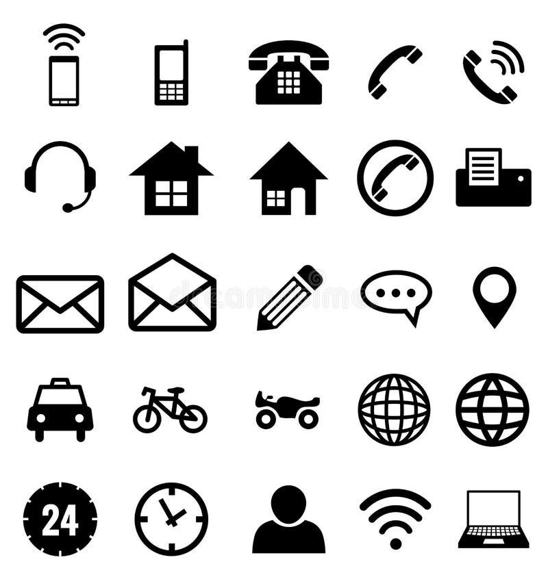 Kontaktsymbolssamling för affär vektor illustrationer