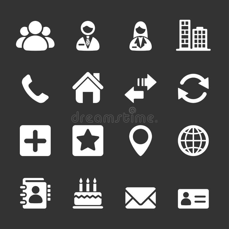 Kontaktsymbolsuppsättning stock illustrationer