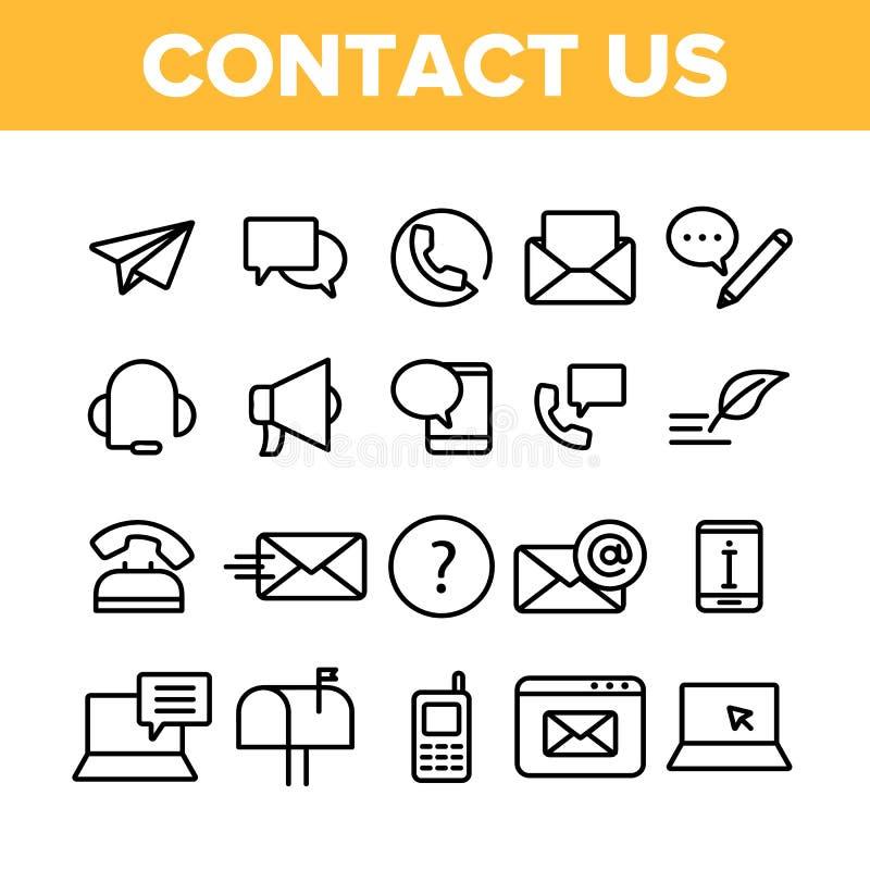 Kontaktuje się My, centrum telefoniczne Wektorowe Liniowe ikony Ustawiać ilustracja wektor
