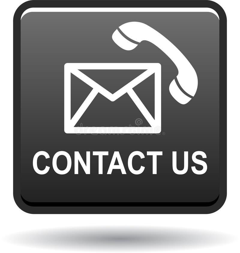 Kontaktuje się my guzik poczta wezwania ikon czerń ilustracja wektor