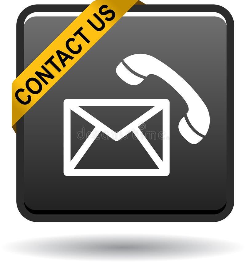 Kontaktuje się my poczta wezwania ikon czerń ilustracja wektor