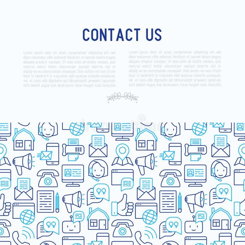 Kontaktuje się my pojęcie z cienkimi kreskowymi ikonami ilustracji
