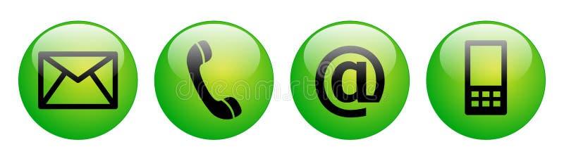 Kontaktuje się my sieć guzików zieleń royalty ilustracja