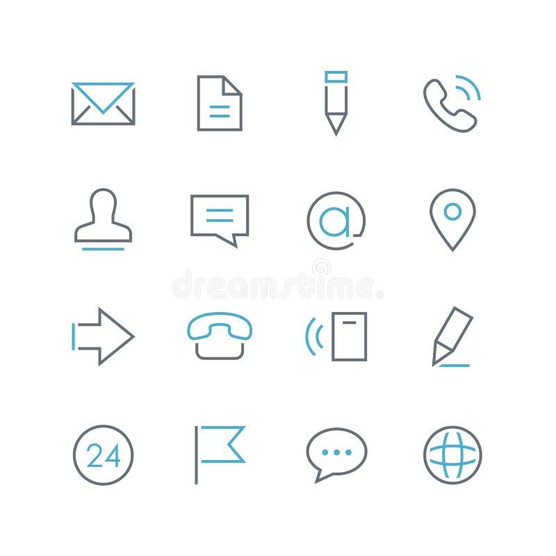 Kontakty cienieją i barwiący kontur ikony set ilustracji