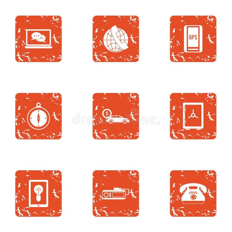Kontakty ikony ustawiać, grunge styl ilustracji