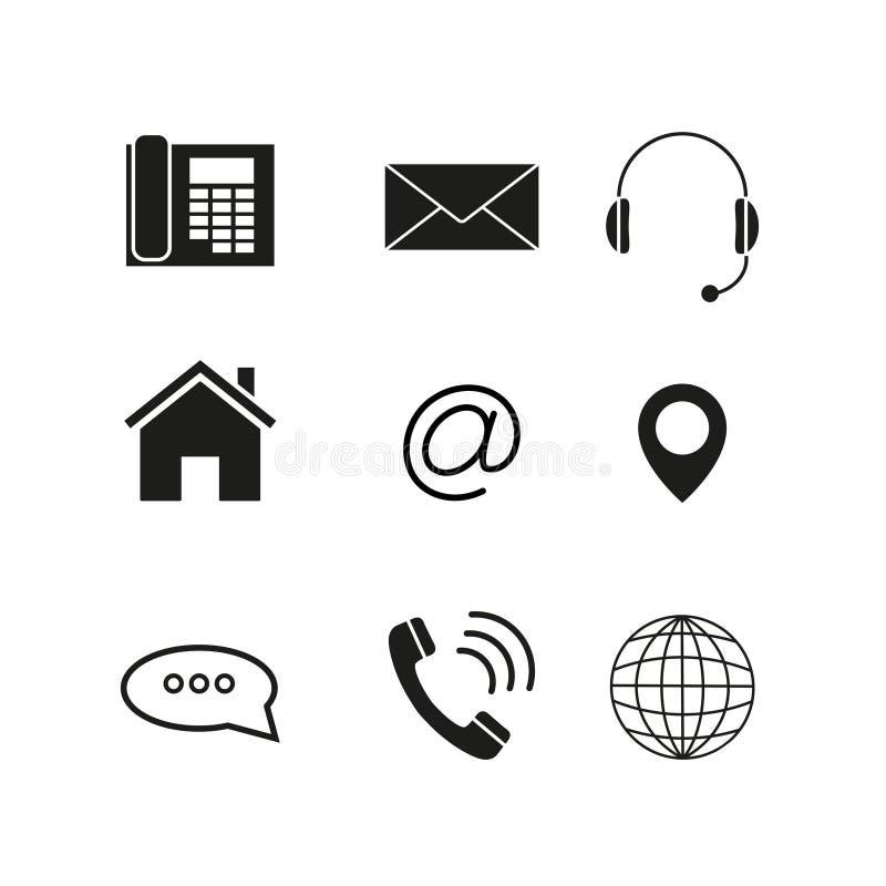Kontakty ustawiają ikony ilustracja wektor