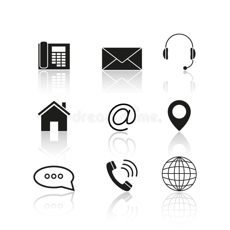 Kontakty ustawiają odbicie ikony ilustracja wektor