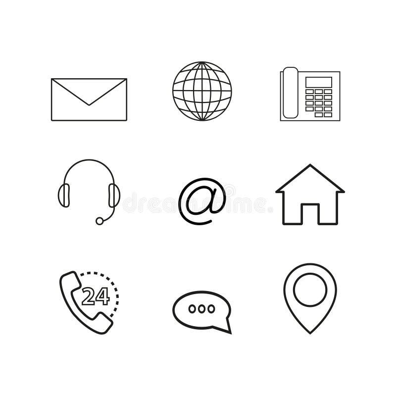 Kontakty ustawiają online ikony ilustracja wektor