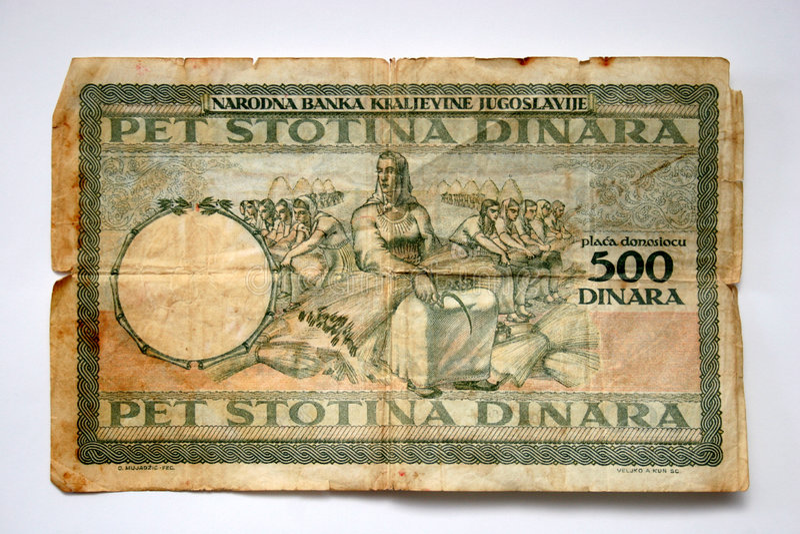 kontant dinara gammala yugoslavia royaltyfria foton