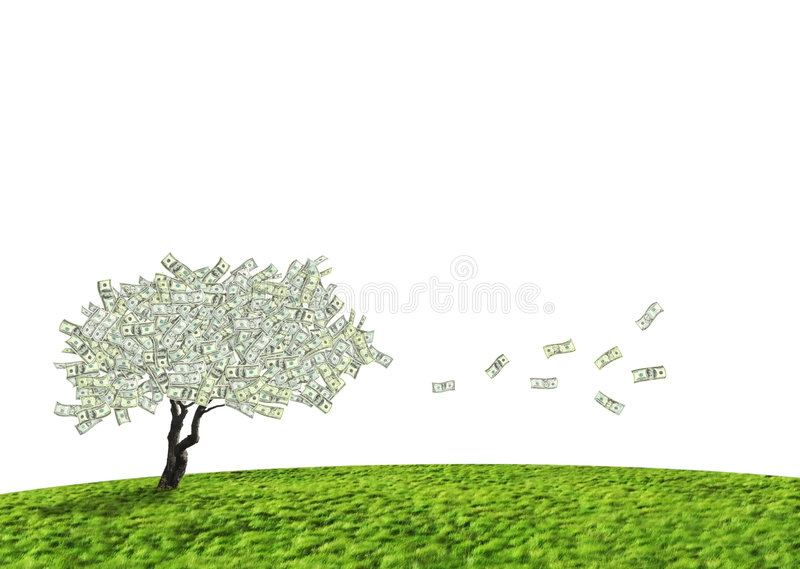 kontant dollartree royaltyfri illustrationer