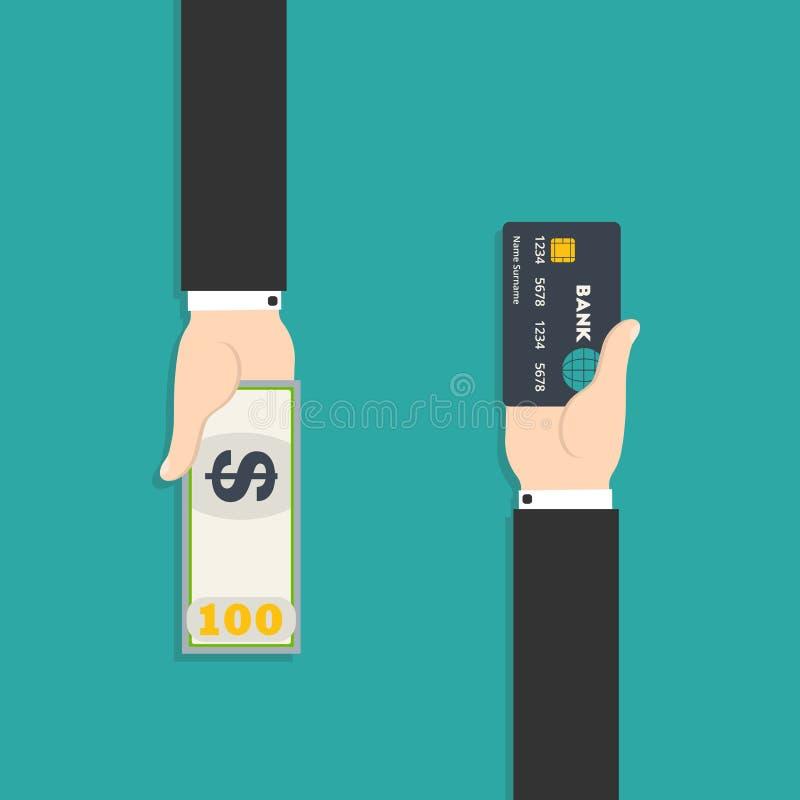 kontant hand för atm-kort som sätter in den plastic s-tillbakadragandekvinnan vektor illustrationer