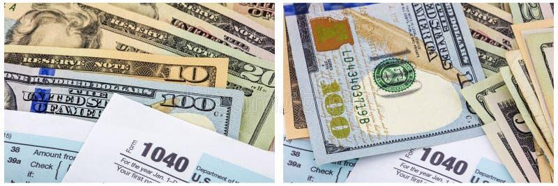 kontant pengarcollage 1040 för inkomstskatt royaltyfria foton