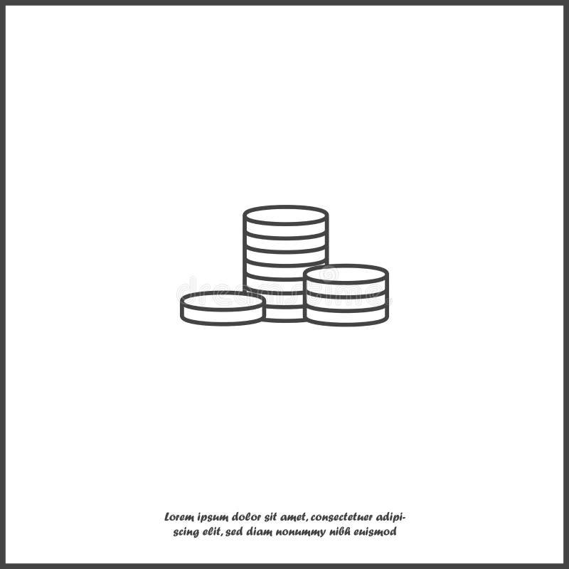 Kontant pengarsymbol Plana bildpengar p? vit isolerad bakgrund Lager som grupperas f?r l?tt redigerande illustration royaltyfri illustrationer