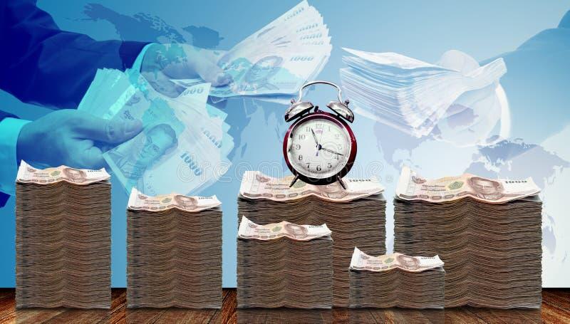 Kontant pengartillväxt med tid och affärsmanerbjudandelån royaltyfri illustrationer