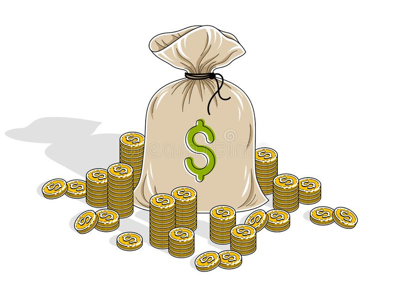Kontant rikedom och besparingar, pengarpåse med myntcentbuntar som isoleras på vit bakgrund Isometrisk vektoraffär och finans royaltyfri illustrationer