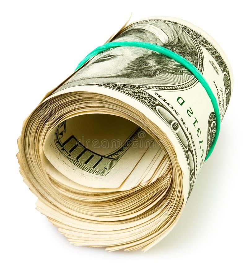 Kontant rulle för pengar arkivbild