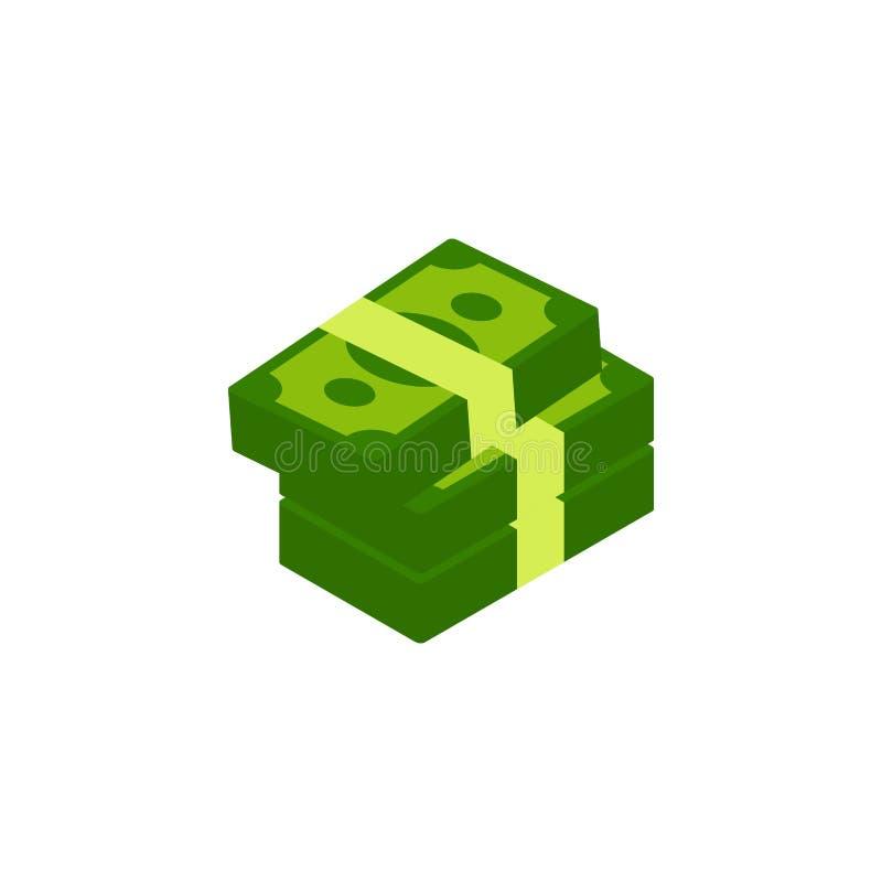 kontant stapel mycket pengar Grön illustration för sedel- och myntvektorsymbol royaltyfri illustrationer