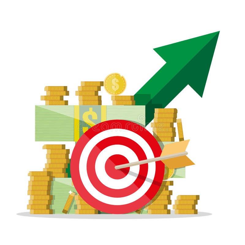 Kontant tillväxt Grön pil Dollar och myntar vektor illustrationer