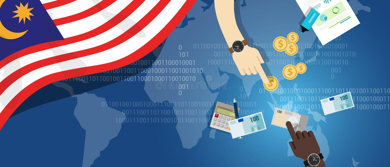 Kontanta South East Asia för översikt för transaktion för pengar för finansiell hand för Malaysia ekonomi hållande bankverksamhet stock illustrationer