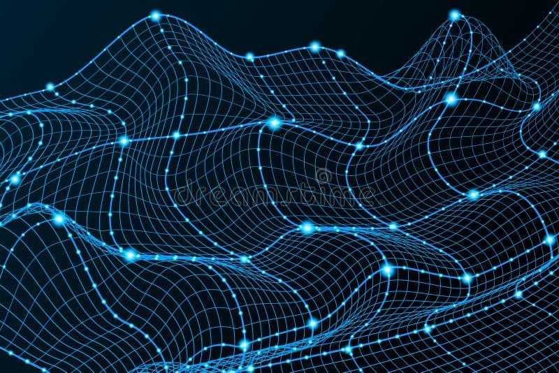 Kontekst technologii Tło — niebieska siatka 3d Futurystyczny okablowanie w sieci wykorzystującej technologię cyfrową Sztuczne ilustracja wektor