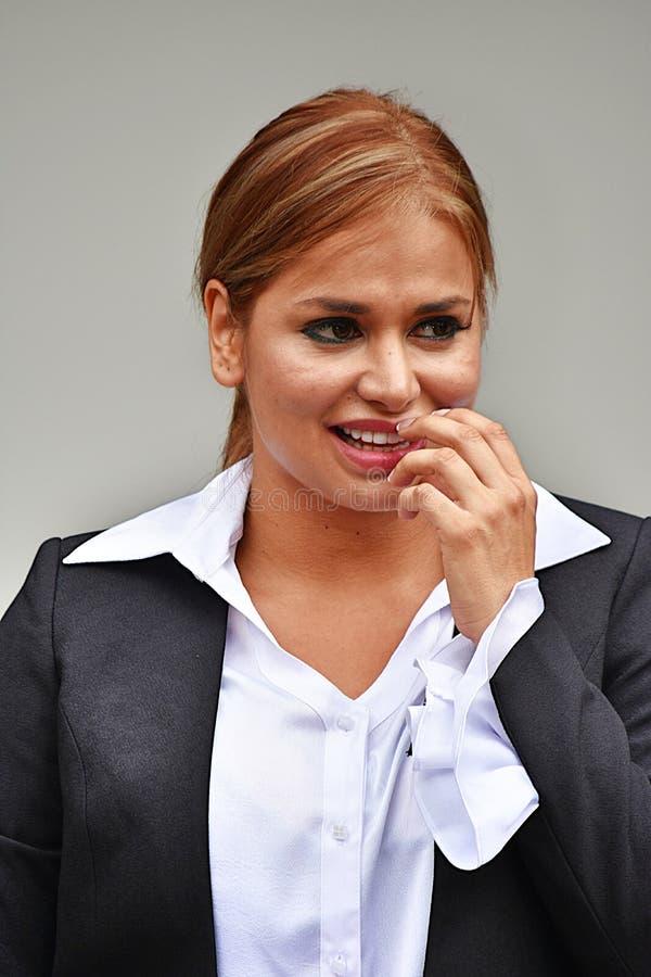 Kontemplacyjna Biznesowa kobieta Jest ubranym kostium zdjęcie stock
