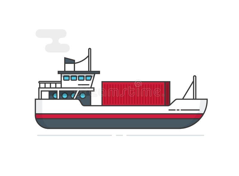 Kontener przez statek ilustraci linii wektorowego konturu, płaskiego kreskówki naczynia lub łodzi odtransportowania ładunku zbior ilustracja wektor