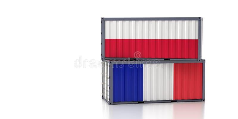 Kontener towarowy z flagą krajową Francja i Polska royalty ilustracja