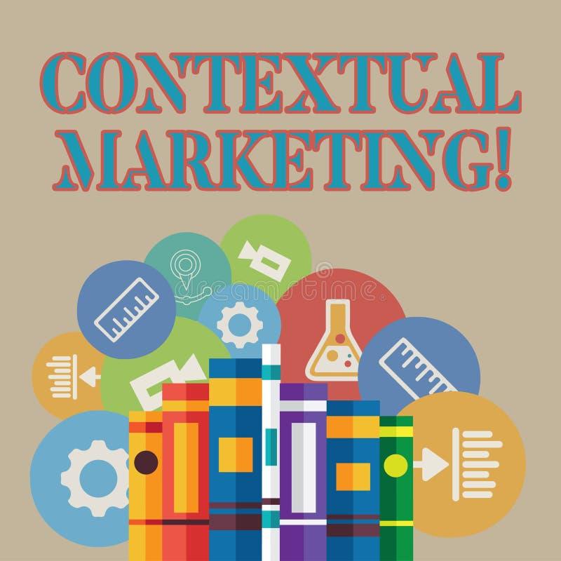 Kontextuell marknadsföring för ordhandstiltext Affärsidé för beteende- uppsätta som mål böcker för online- och mobil marknadsföri royaltyfri illustrationer
