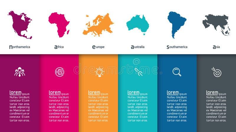 Kontinental information om infographics royaltyfri illustrationer