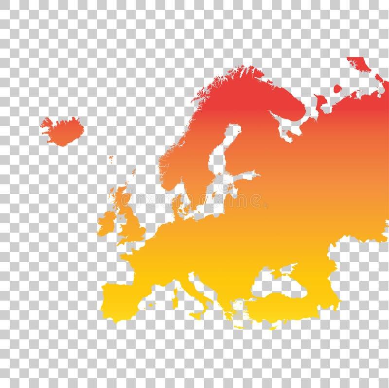 kontinental politisk Europa översikt Färgrik orange vektorillustration royaltyfri illustrationer