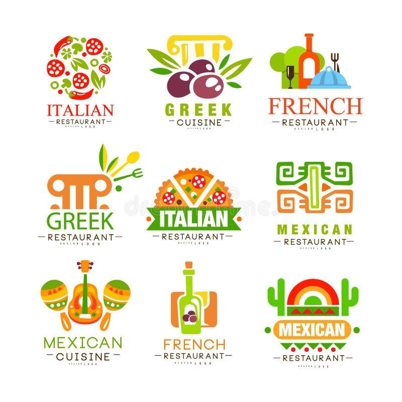 Kontinental uppsättning för kokkonstlogodesign, italienare, grek, franska, japan, mexicansk autentisk traditionell kontinental ma royaltyfri illustrationer