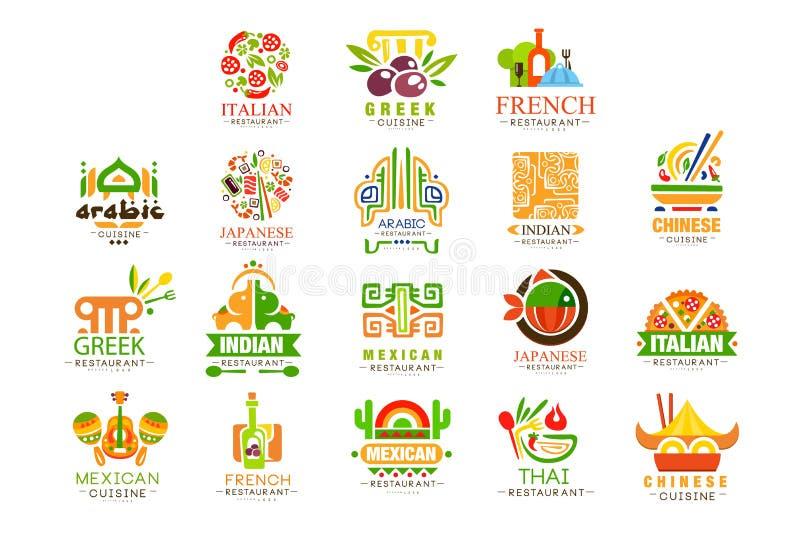 Kontinental upps?ttning f?r kokkonstlogodesign, italienare, grek, franska, japan, mexicansk autentisk traditionell kontinental ma vektor illustrationer