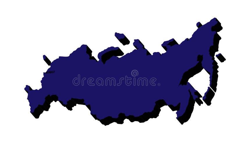 kontinental ?versikt politiska russia Vektoröversikt för rysk federation 3D ocks? vektor f?r coreldrawillustration royaltyfri illustrationer