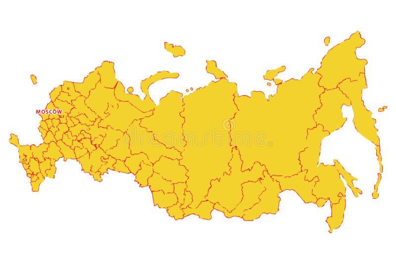 kontinental ?versikt politiska russia Vektor?versikt f?r rysk federation ocks? vektor f?r coreldrawillustration stock illustrationer