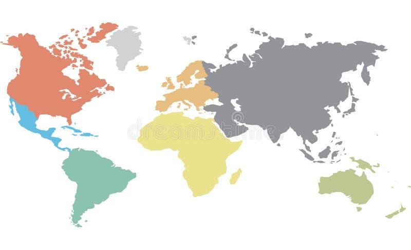 Kontinentales worldmap stock abbildung