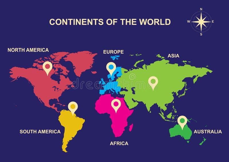 Kontinenter av världen, kontinenter, Asien, Europa, Australien, Sydamerika, Nordamerika, Afrika royaltyfri illustrationer