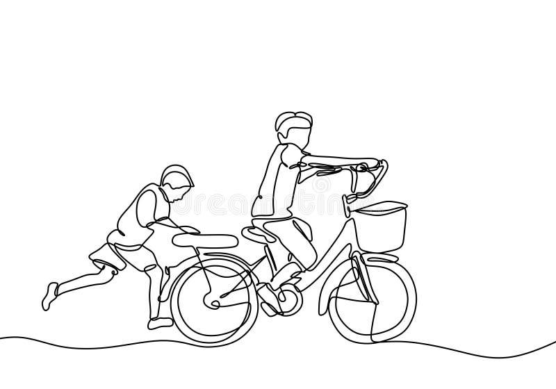 Kontinuerlig ritning av barn som spelar cykel med en vän Tema för vänskap och barndom Ungdomshjälp är en vänlighet royaltyfri illustrationer