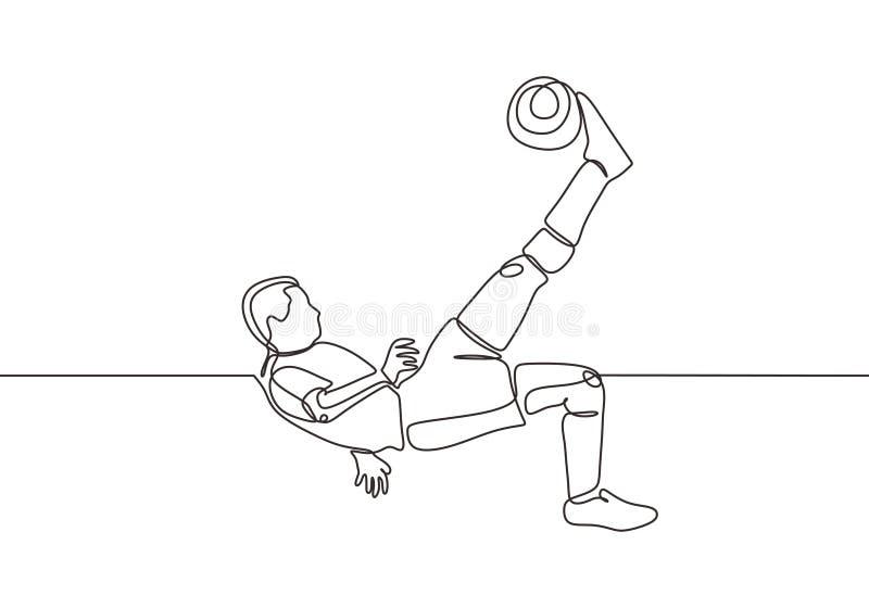 Kontinuerlig ritning av fotbollsspelare som hoppar och sparkar en boll under matchen Sportsman på friidrottarens sida upp och ner vektor illustrationer