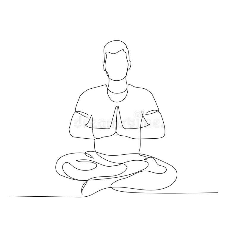 Kontinuierlicher 1-zeiliger Mann in Lotus-Position Yoga Vector-Illustration lizenzfreie abbildung