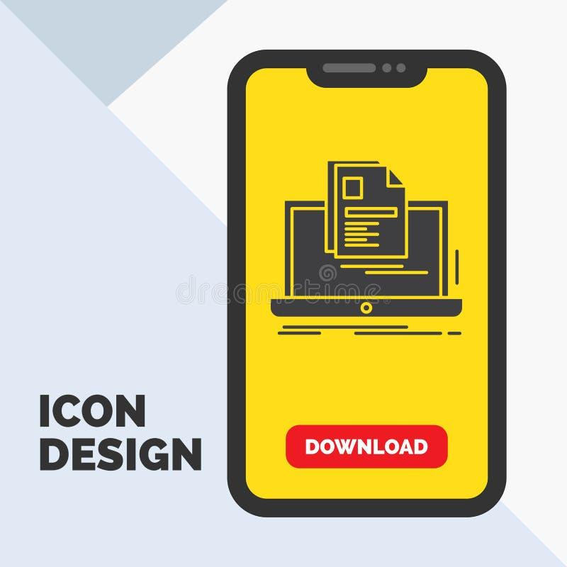 konto bärbar dator, rapport, tryck, meritförteckningskårasymbol i mobilen för nedladdningsida Gul bakgrund vektor illustrationer