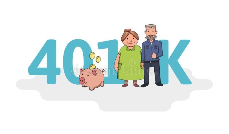 konto för pension 401K, avgång Akronym med tecken, bokstäver och text Kulör plan vektorillustration på vit royaltyfri illustrationer