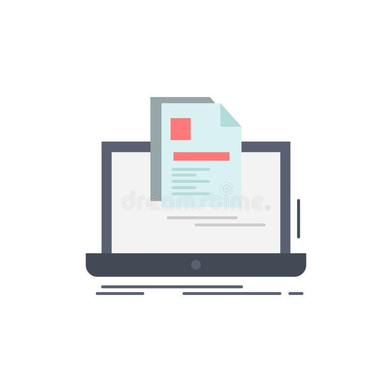 konto, laptop, raport, druk, życiorysu koloru ikony Płaski wektor royalty ilustracja